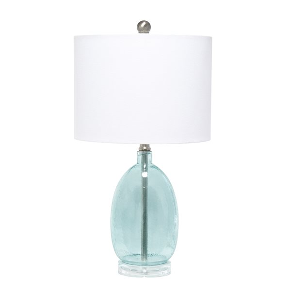 Lalia Home Classix 22-in Clear Blue Incandescent Rotary Socket Standard Table Lamp with Fabric Shade