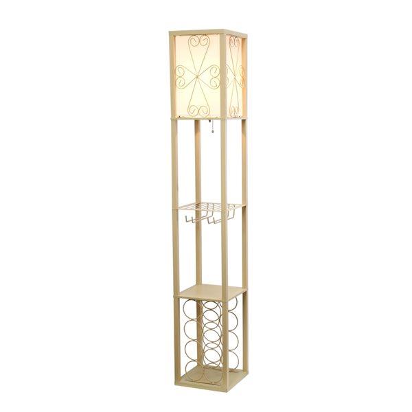 Lampe sur pied cubique par Simple Designs brune de 16,73 po