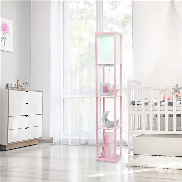 Simple Designs 62.5-in Light Pink Cube Floor Lamp