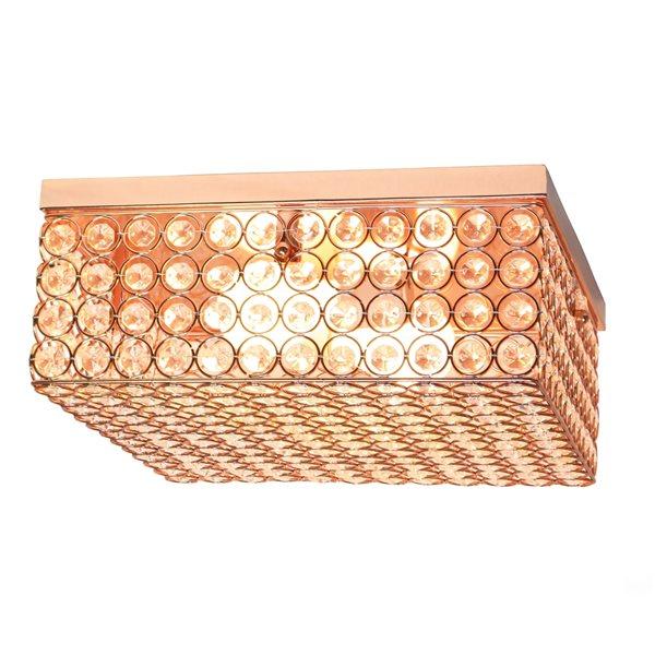 Plafonnier encastré de 12po moderne/contemporain Elipse Crystal par Elegant Designs à ampoule à incandescence, or rose