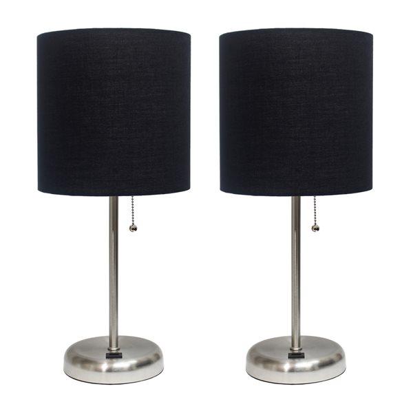 Ensemble de 2 lampes standards en acier par LimeLights avec abat-jour noir