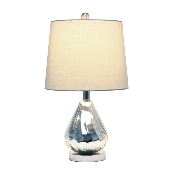 Lalia Home Classix 20.25-in Chrome Incandescent Rotary Socket Standard Table Lamp with Grey Fabric Shade