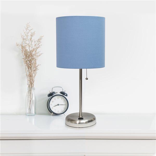 Ensemble de 2 lampes standards par LimeLights avec abat-jour bleu