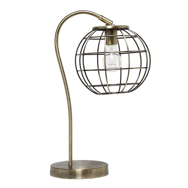 Lalia Home Studio Loft 20-in Antique Brass Incandescent On/Off Switch Standard Table Lamp with Metal Shade
