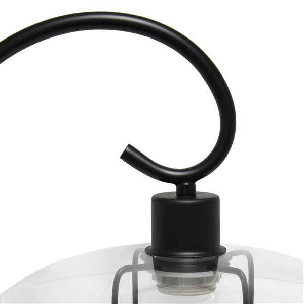 Lalia Home Studio Loft 22.2-in Black Incandescent On/Off Switch Standard Table Lamp with Glass Shade
