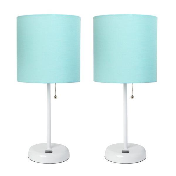 Ensemble de 2 lampes standards par LimeLights avec abat-jour turquoise