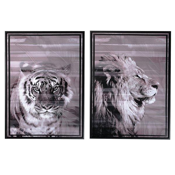 Art mural sur toile en noir et blanc 32 po x 20 po de IH Casa Decor
