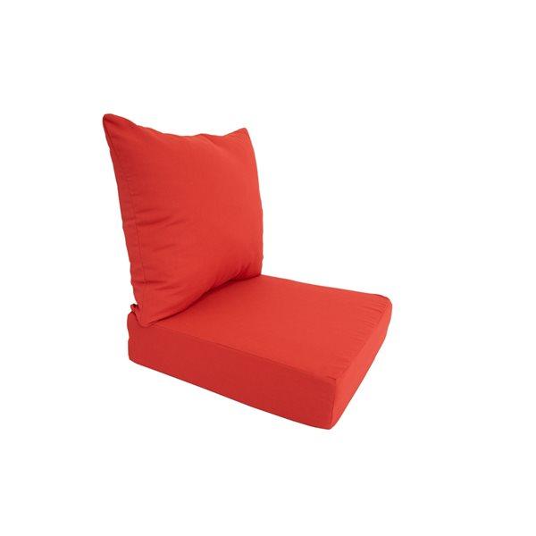 Coussin rouge de chaise de patio à siège profond de Bozanto Inc., 2 pièces