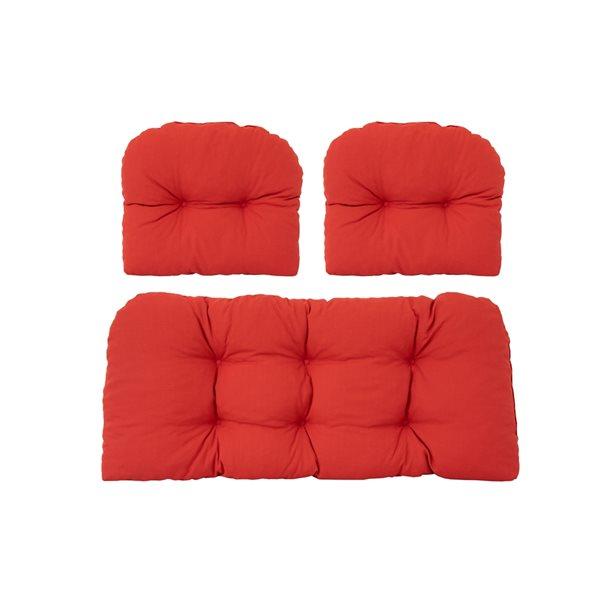 Coussins rouges pour causeuse de patio par Bozanto Inc., 3 pièces