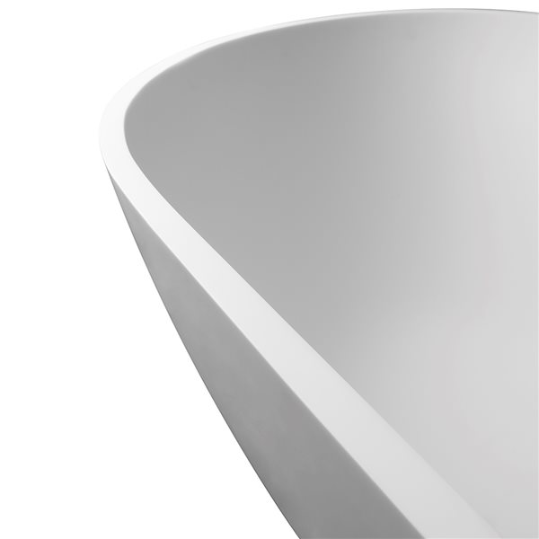 KINWELL 29.5-in x 69-in White Solid Surface Oval Center Drain Freestanding Bathtub