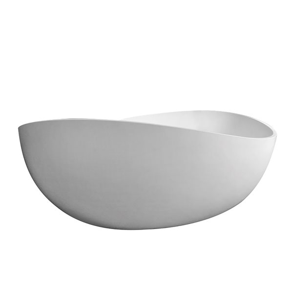 KINWELL 37.5-in x 63-in White Solid Surface Oval Center Drain Freestanding Bathtub