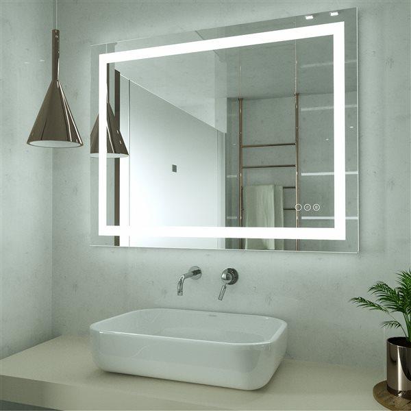 KINWELL 40-in Lighted LED Fog Free Glass Rectangular Frameless Bathroom Mirror