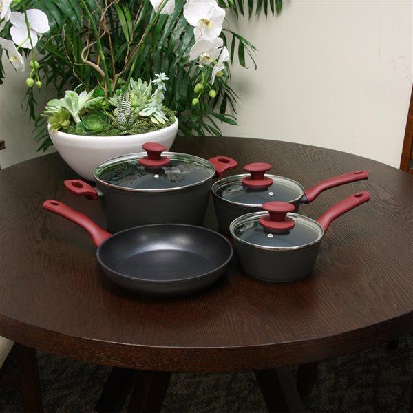 Gibson Home Marengo 7-Piece Set Aluminum Cookware Set Lid Included