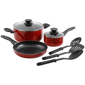 Gibson Home 8-Piece Cookware 11.5-in Aluminum Cookware Set Lid Included, Red