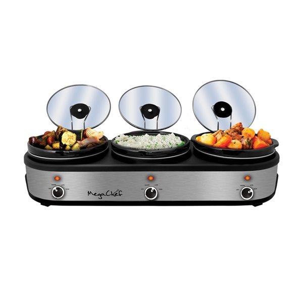 MegaChef 2.5-Quart Silver Rectangle 3-Vessel Slow Cooker