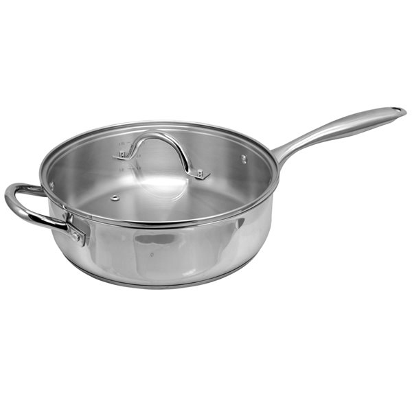 Oster Cuisine 2-piece Saunders Saute Pan 11-in Stainless Steel Cooking Pan Lids Included