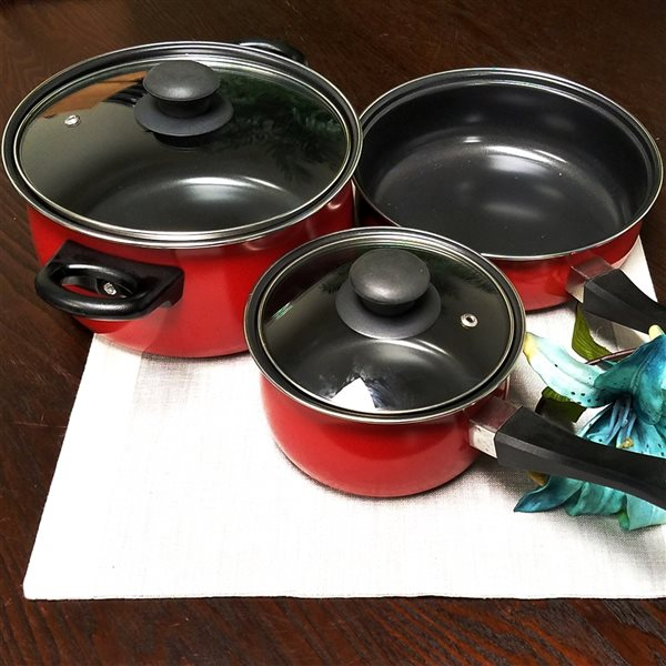 Gibson Home Tompkins 5 Piece Set 9-in Carbon Steel Cookware Set Lids Included