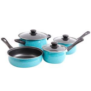 Gibson Home Casselman 7-Piece Set 5.5-in Carbon Steel Cookware Set Lids Included