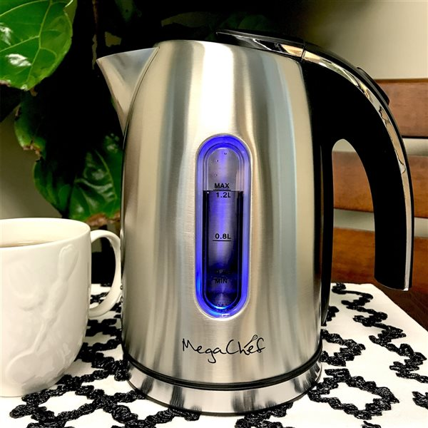 MegaChef Silver 5.07-Cup Cordless Electric Kettle