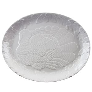Gibson Home White Plastic Serving Plate