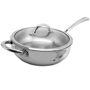 Oster Cuisine 2-piece Derrick Saute Pan 10-in Stainless Steel Cooking Pan Lids Included