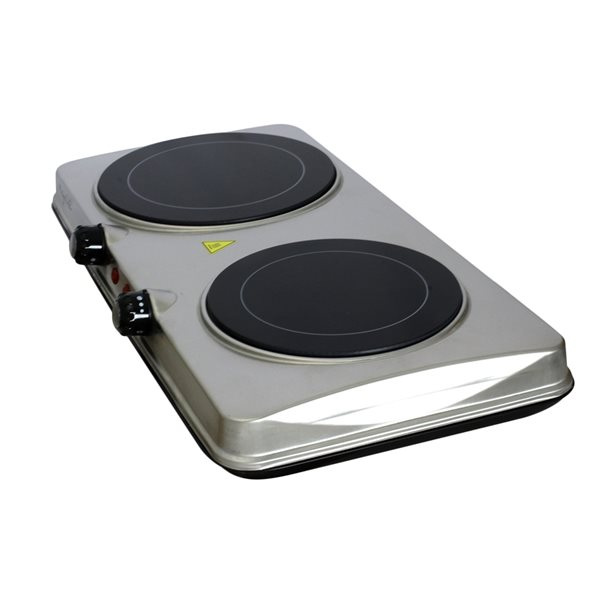 Plaque de cuisson électrique portative et robuste en acier inoxydable à 2 élements par Megachef, 20 po