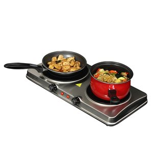 Megachef Portable Heavy Duty Burner 20-in 2 Elements Coil Stainless Steel Electric Cooktop