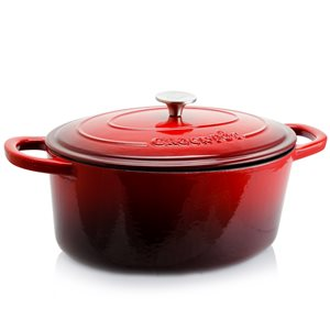 Crock-pot 2-piece Artisan Dutch Oven 13.5-in Cast Iron Baking Pan Lids Included