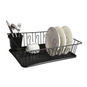 MegaChef 13.50-in W x 17.50-in L x 5.50-in H Black Metal Dish Rack