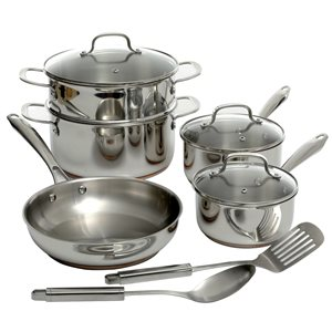 Oster Cuisine 10-piece Kellerton Stainless Steel Cookware Set Lids Included