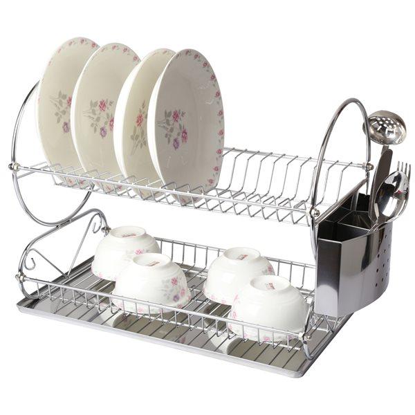 MegaChef 8.50-in W x 17.50-in L x 13.50-in H Metal Dish Rack