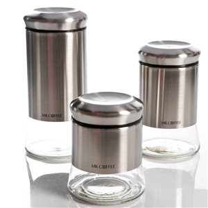 Mr. Coffee Multisize Tempered Glass Food Storage Container - 3-Piece