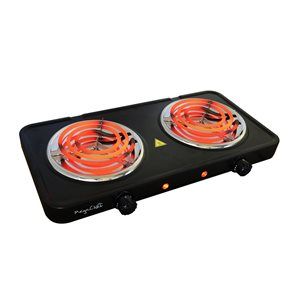 Megachef Portable Dual Coil Burner 20-in 2 Elements Coil Black Electric Cooktop
