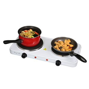 Megachef Portable Dual Burner 20-in 2 Elements Smooth Surface (radiant) White Electric Cooktop