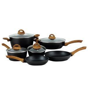 Oster Cuisine Newbury 10-Piece Cookware 12-in Aluminum Cookware Set Lid Included