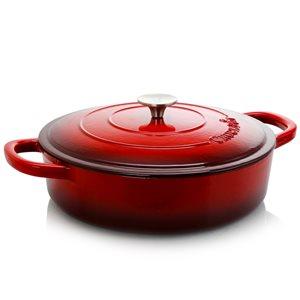 Crock-pot 2-piece Artisan Braiser 8-in Cast Iron Baking Pan Lids Included