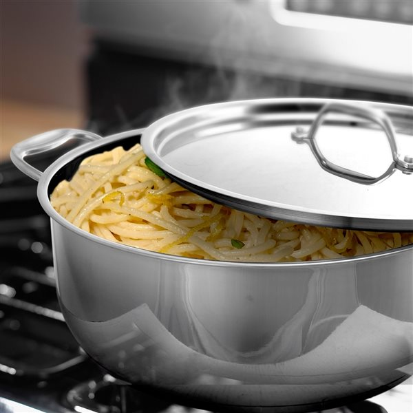 Better Chef 1-piece 12 Quart Low Stock Pot 14-in Stainless Steel Cooking Pan Lid Included