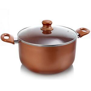Better Chef 1-piece Copper Dutch Oven 10.5-in Ceramic Cooking Pan Lid Included, 6L