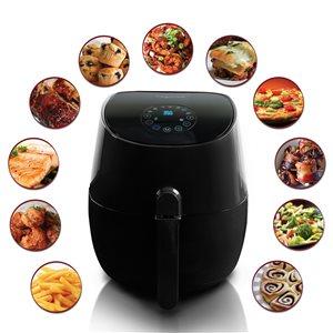 Friteuse à air chaud et le multicuiseur MegaChef 3,5 pintes avec 7 modes préprogrammés, noir