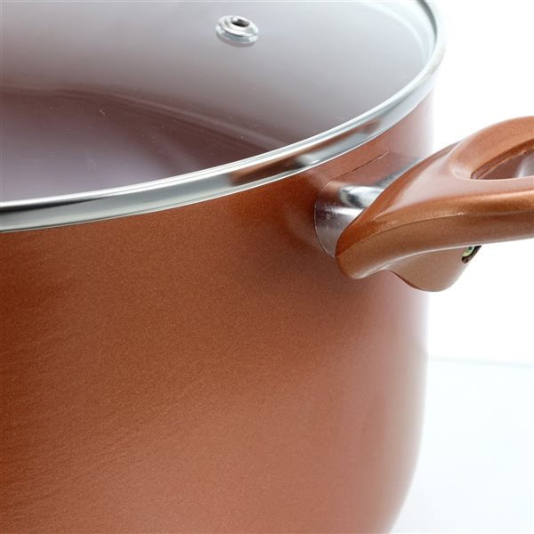 Better Chef 1-piece Copper Dutch Oven 12-in Ceramic Cooking Pan Lid Included