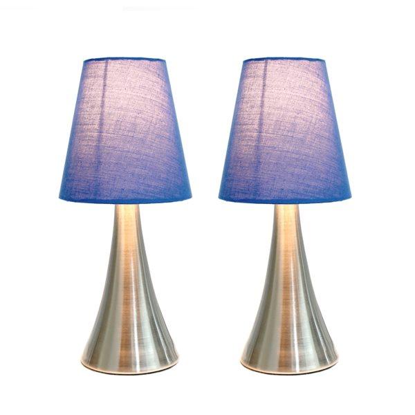Lampes standards Valencia Simple Designs avec abat-jour bleus, ensemble de 2