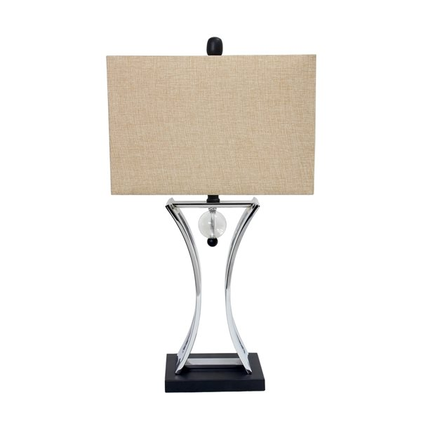 Elegant Designs Regency 28-in Chrome Incandescent Rotary Socket Standard Table Lamp with Fabric Shade