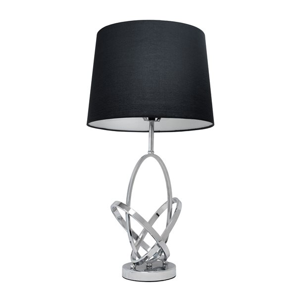 Elegant Designs 27.75-in Chrome/black Incandescent Rotary Socket Standard Table Lamp with Fabric Shade