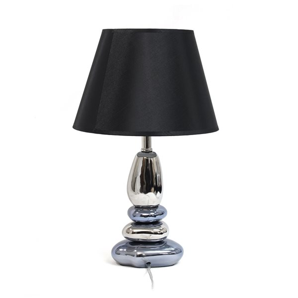 Elegant Designs 21.5-in Chrome and Metallic Blue Incandescent Rotary Socket Standard Table Lamp with Fabric Shade