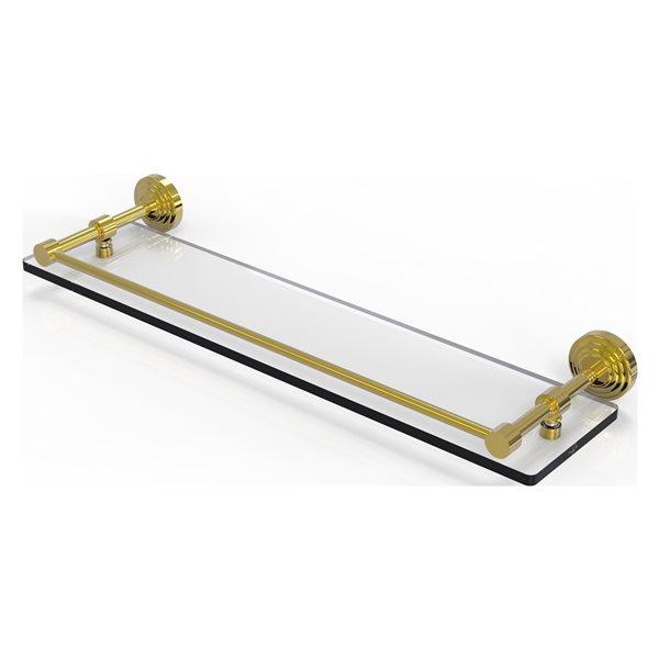 Allied Brass Waverly Place Polished Brass 1-Tier Glass Wall Mount Bathroom Shelf