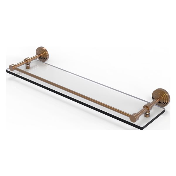 Allied Brass Waverly Place Brushed Bronze 1-Tier Glass Wall Mount Bathroom Shelf