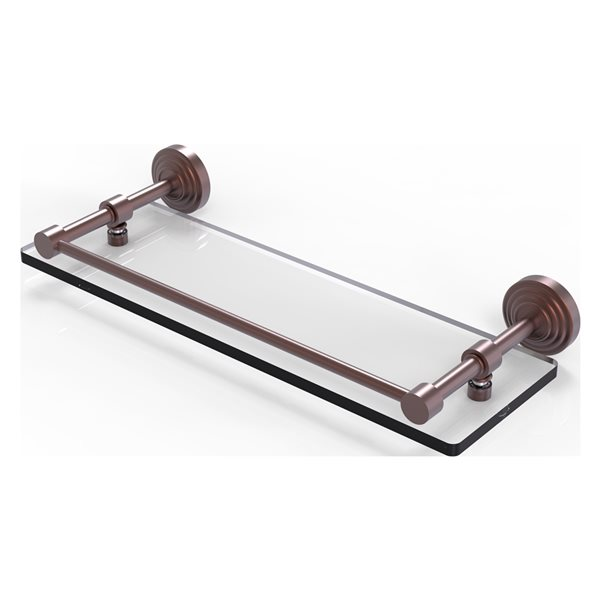 Allied Brass Waverly Place Glass 1-Tier Wall Mount Bathroom Shelf in Antique Copper