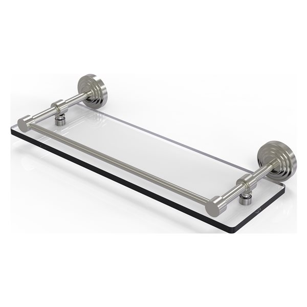Allied Brass Waverly Place Satin Nickel Glass 1-Tier Wall Mount Bathroom Shelf