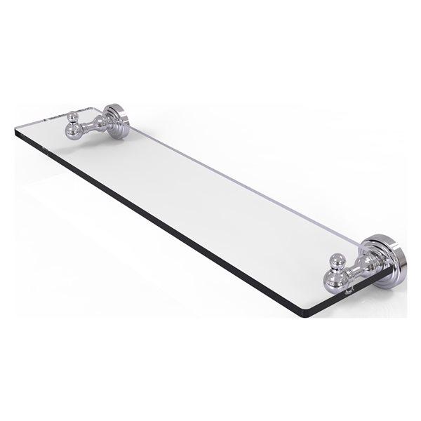 Allied Brass Waverly Place Glass 1-Tier Wall Mount Bathroom Shelf in Polished Chrome