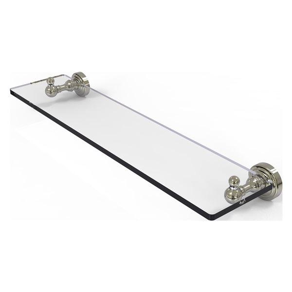 Allied Brass Waverly Place Glass 1-Tier Wall Mount Bathroom Shelf in Polished Nickel